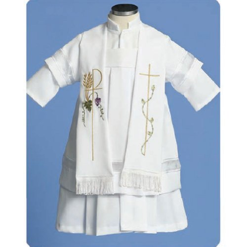 Angels Garment Baby Boys 3pc Embroidered Christening Outfit 3-6M