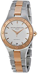 Baume and Mercier Linea White Dial Stainless Steel and 18kt Rose Gold Ladies Watch 10073