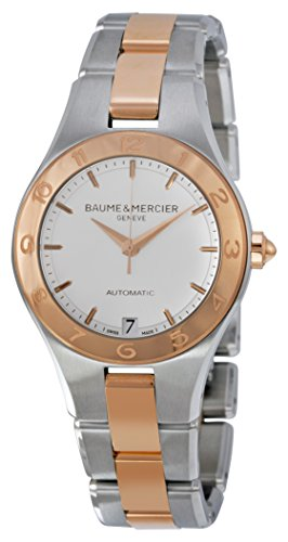Baume and Mercier Linea White Dial Stainless Steel and 18kt Rose Gold Ladies Watch