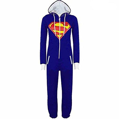 Casa Monopezzo - Uomo Unisex Batman Superman Casualwear Onesie In Tinta Unita Cappuccio Con Risvolto Chiusura Con Zip Front Tuta Intera Blu XXL