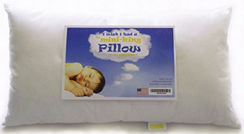 "Toddler Pillow -The""Mini-King"" is Much Longer so Children can Rollover. Ideal Thickness For Better Head and Neck Support, Whether Sleeping In a Bed or Crib. Soft, Hypo-allergenic, Machine Washable. Great Gift For Kids."