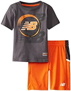 New Balance Boys 2-7 Jersey T-Shirt and Mesh Short Set, Charcoal, 4