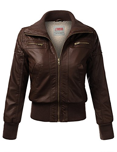 J.Tomson Womens Faux Leather Pu Moto Jacket Brown Medium