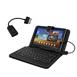 Hooshion 7 Inch Keyboard Case Kick stand For Samsung Galaxy Tab GT-P6200 Tab2 7 P3110 GT-P3100 Black