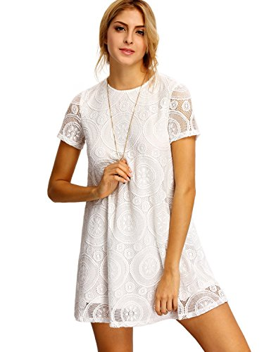 ROMWE Women's Short Sleeve Summer Lace Dress White L