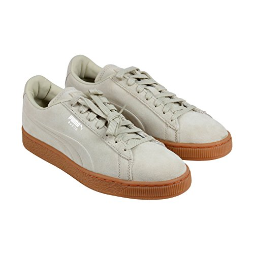 PUMA Men's Suede Emboss Fashion Sneaker, Pale Khaki-Gum, 12 M US