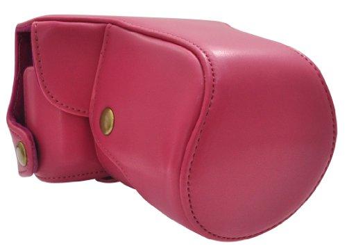 PLATA ( プラタ ) Nikon(ニコン) 1 J3 レンズキット 対応 カメラ ケース & ストラップ セット  ピンク