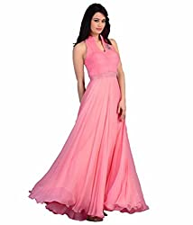 Maa Textile Women's pink Georgette semi-Stitched Gown(H110-02_pink_free size)