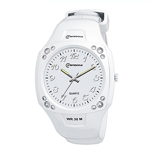 Children's Dancewear elegant casual leisure square rhinestone ordinary waterproof watch white