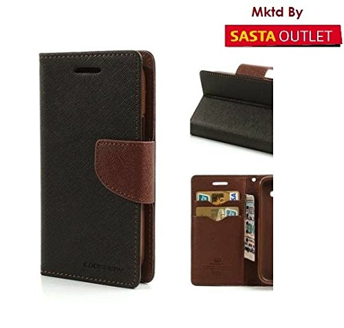 Samsung Galaxy Note 1 GT- i9220 N7000 Mercury Flip Wallet Diary Card Case Cover (Black&Brown) By Wellcare