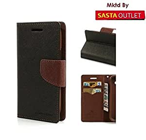 Micromax Canvas Spark Q380 Mercury Flip Wallet Diary Card Case Cover (Black&Brown) By Wellcare