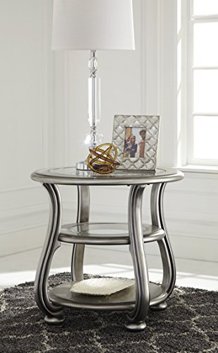 Round Chairside Table in Silver Finish