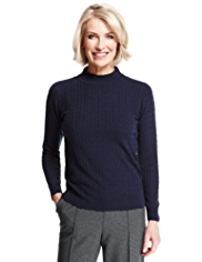 Classic Cashmilon™ Polo Neck Cable Knit Jumper