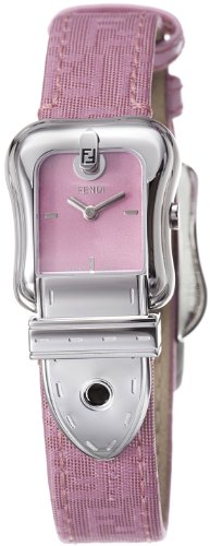 Fendi B. Fendi Ladies Pink Fabric Leather Strap Buckle Shaped Watch F370277BF