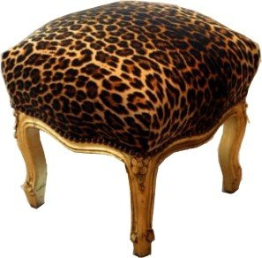 Baroque foot stool Leopard / Gold