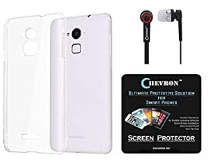 Chevron Crystal Clear Case Soft Flexible TPU Back Cover for Coolpad Note 3 Lite with HD Screen Guard & Chevron 3.5mm Stereo Earphones (Transparent)