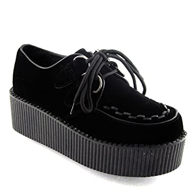 new womens platform lace up creepers