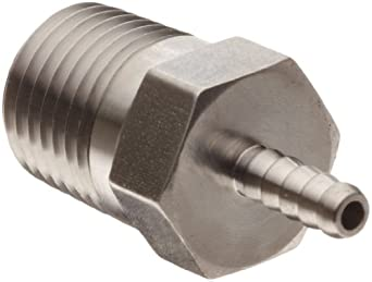 "Parker 2-4 B2HF-SS 2-4 316 Stainless Steel Barb Connector To Male Pipe 1/8"" Hose Barb 1/4"" Male NPT"