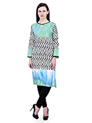 FAIRENO Designer Long Kurti in White & Blue