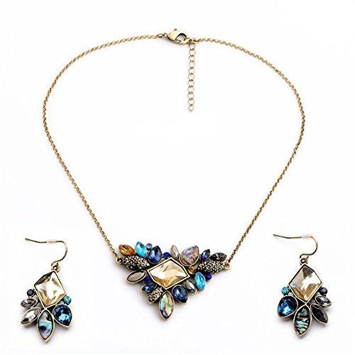azul-iridiscente-glassstone-triangle-flores-corto-oro-declaracion-collar-y-pendientes-conjunto