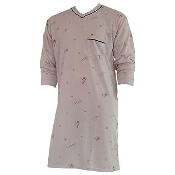 Herren Nachthemd mit langem Arm mit Motiv und V-Ausschnitt in 9 Farben Nr. 4939, Farbe:beige;Größe:M