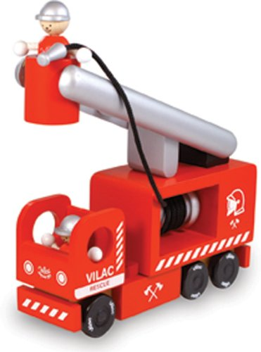 Vilac Wooden Fire Engine Toy, Pollock Red
