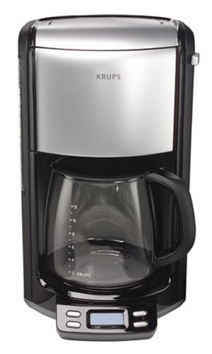 KRUPS FME414 Programmable Coffee Maker with Glass Carafe and LED Control panel, 12-Cup, Black and Stainless Steel