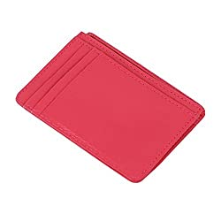 Genuine Leather Women's Credit Card Holder Slim Wallet Business Card Case Hot Pink