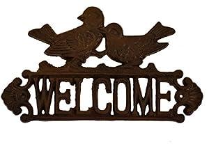 east2eden Rustic Vintage Cast Iron Welcome Sign Garden Wall Fence Gate Door Art Plaque
