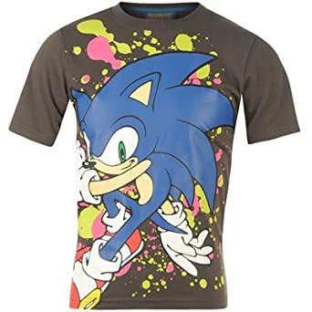 Sonic Print T Shirt Junior Charcoal 9-10 (MB)