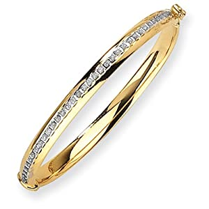 14k 6in Yellow Gold Diamond Fascination Hinged Baby Bangle w/ Gift Box. Wt- 2.5g
