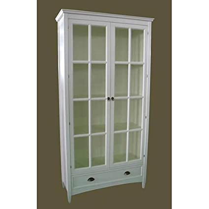 Charleston Bookcase With Glass Door, White