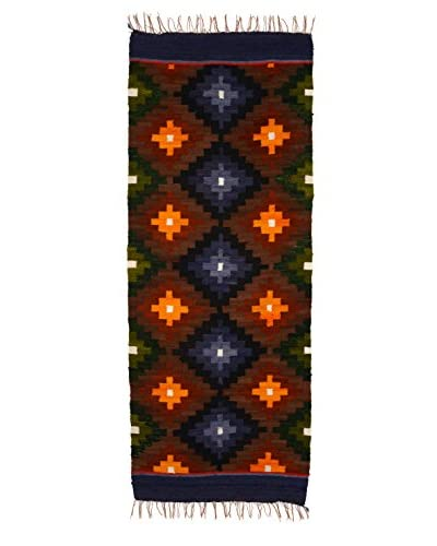 Uptown Down Found Loomed Peruvian Wool Accent Rug, Brown/Multi, 4′ 10″ x 1′ 11″