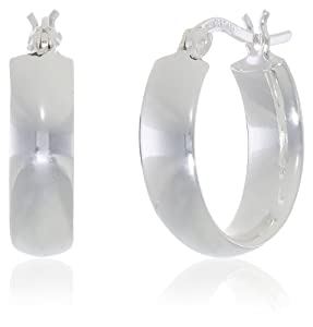 "Sterling Silver Flat Polished Hoop Earrings (0.7"" Diameter) by Amazon Curated Collection"
