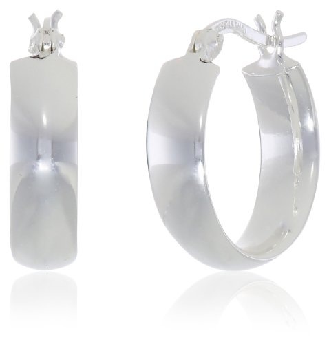 "Sterling Silver Flat Polished Hoop Earrings (0.7"" Diameter)"