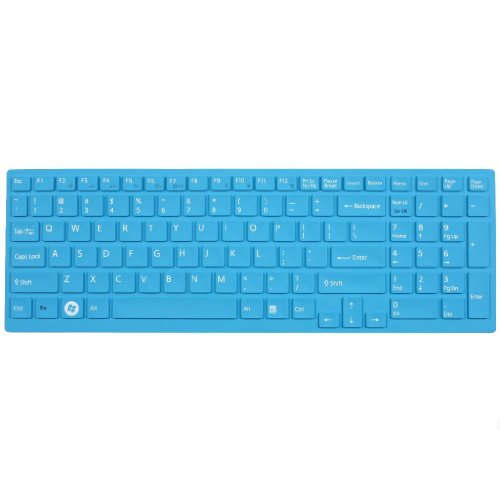 Silicone Laptop Keyboard Protector Skin Cover For Sony Vaio Pcg-61511T, E15, S15, F219, F24, Eb, Ee, Eh, El, Cb, Se, Series 15.5 Inch With Number Pad On The Right Us Layout (Blue)