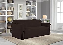 Serta Relaxed Fit Smooth Suede Furniture Slipcover for Sofa, Chocolate