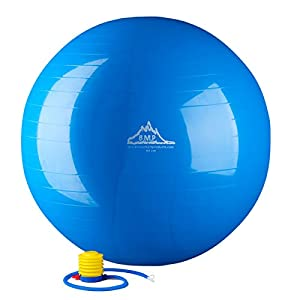Black Mountain Products 2000-Pound Anti Burst Exercise Stability Ball with Pump, Blue, 85cm