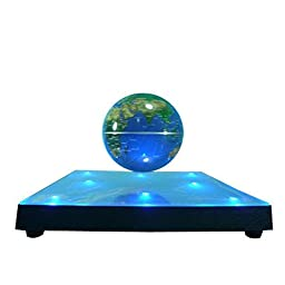 Lightahead® Rotating Magnetic Levitation Globe Suspended in Air Floating 3.5 inch Globe, ABS Base with Mirror and 8pcs LED lights