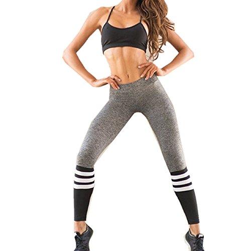 Yoga Ghette, Sharondar Donne Fitness alto Vita banda Patchwork Scheletrico spingere in su Pantaloni (M, Grigio)