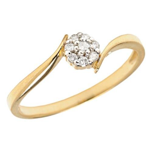 10k Gold Flower Cluster Diamond Promise Ring