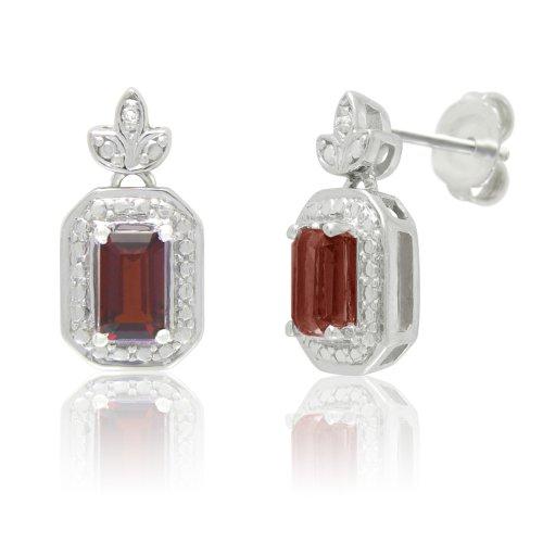 Sterling Silver Garnet and White Diamond Stud Earrings