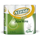 3 Ply Quilted Toilet Rolls Nicky Elite Aloevera - 5 Packs of 9 rolls (45 toilet rolls in total)