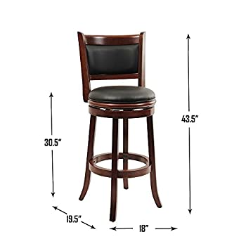 Boraam 49829 Augusta Bar Height Swivel Stool, 29-Inch, Cherry