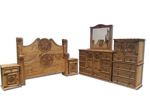 Great Deal! Texas Star Rustic Bedroom Set With Rope Accents Solid Wood (King)