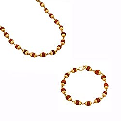 Memoir Rudraksh Beads 30 Inch Neckchain, with 8 Inch matching Bracelet, Temple Jewellery for Men and Women