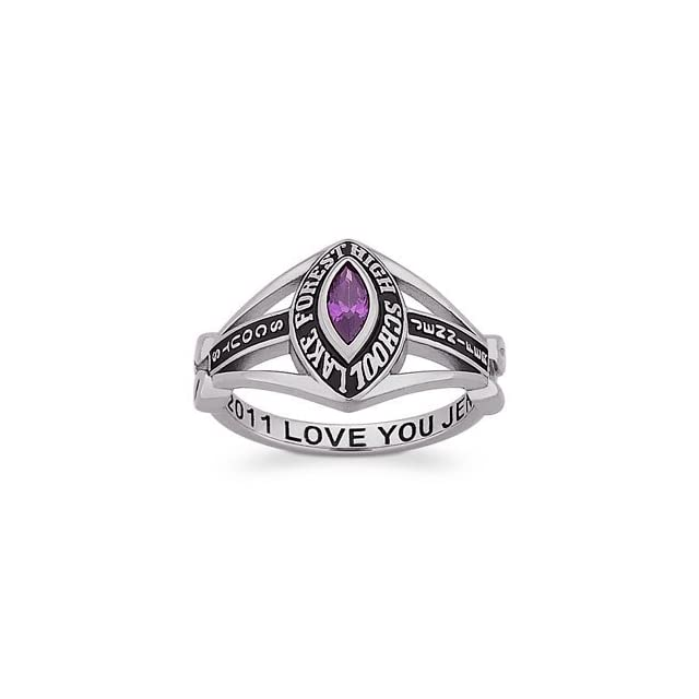 Ladies Sterling Silver Marquise Traditional Class Ring Jewelry