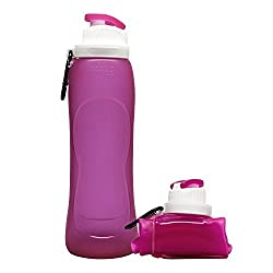 Aday Collapsible Unbreakable Leak Proof Water Bottle Foldable Silicone Sports Water Bottle BPA Free FDA Approved for Traveling, Camping, Hiking, Walking, Running