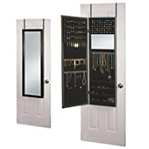 Over the Door, Black,Jewelry Armoire Mirror Cabinet