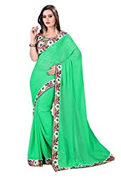 Fashion205 Women Chiffon Saree (TOK-AR7-1030_Green_Green_Free Size)